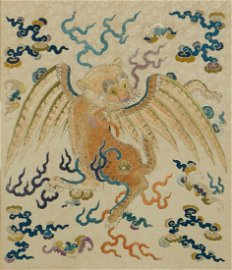 A Chinese embroidered panel of a flying tiger