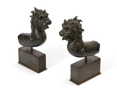 A pair of Renaissance style bronze lion terminals