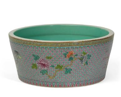 A Chinese Famille Rose porcelain low jardiniere