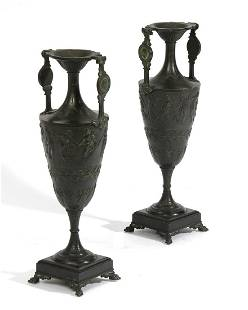 A pair of Continental patinated bronze vases