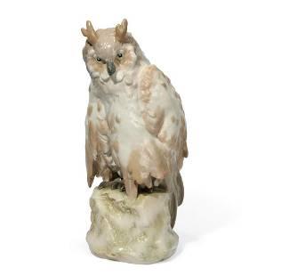 A large porcelain model of Great Horned Owl