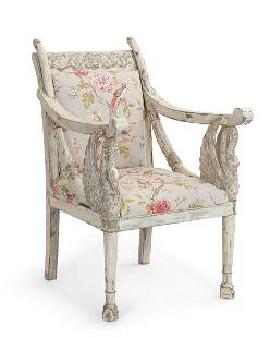ABaltic Neoclassical style white painted armchair