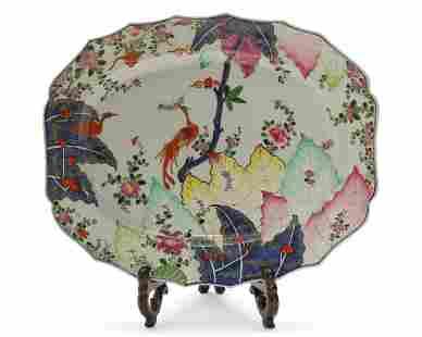 A Chinese porcelain Tobacco Leaf pattern platter