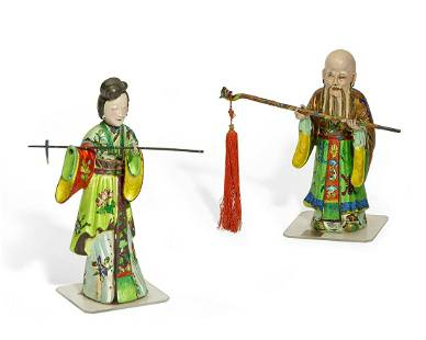 A pair of Chinese figures of Shou Lao and Guanyin