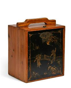 A Japanese lacquer and pine table cabinet