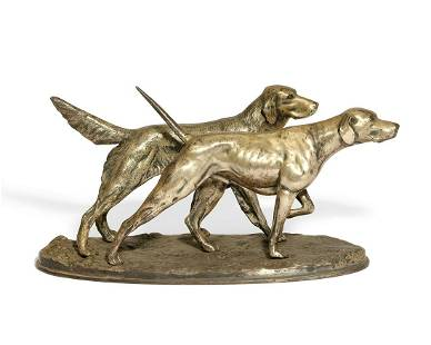 A French silvered metal group of two hunting dogs