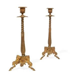 A pair of Napoleon III gilt bronze candlesticks