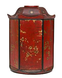 A Chinoiserie decorated hanging cupboard