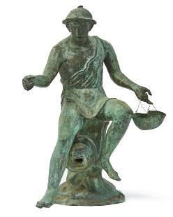 An Italian bronze Mercury form fountain head