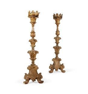 A pair of Baroque giltwood altar pricket sticks