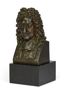 A French patinated bronze bust of Louis XVI