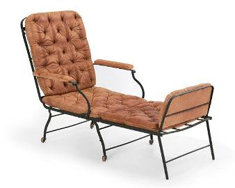 French steel & leather collapsible campaign chair
