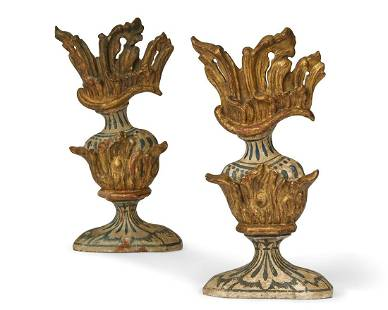 Two Italian painted flaming urn decorative reliefs