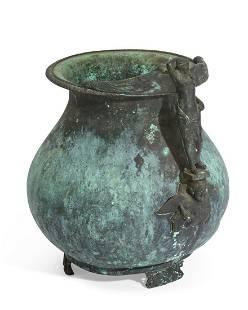 An Italian verdigris bronze urn