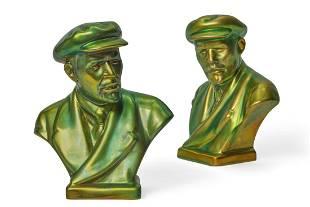 Two Zsolnay portrait busts of Vladimir Lenin