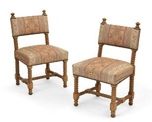 A pair of Continental bobbin turned side chairs