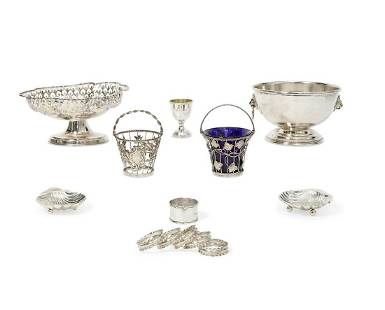 Thirteen pieces of English silver tableware