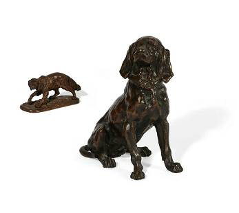 A Continental bronze hound form inkwell