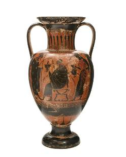 Grand Tour terracotta black figure amphora vase