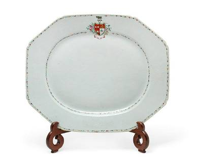 A Chinese Export Famille Rose armorial platter