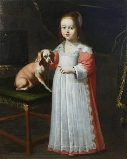 Dutch School, Portrait of a young girl & dog, oil
