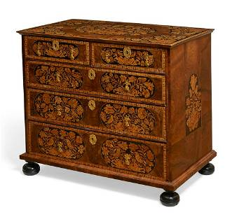 A William and Mary walnut & marquetry chest