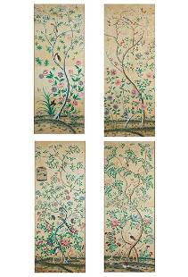 A set of four Chinese painted wallpaper panels