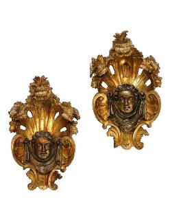 A pair of Baroque giltwood architectural elements