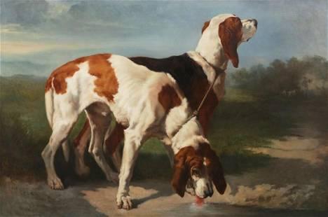 Aftr Joseph Urbain Melin, Portrait of two hounds