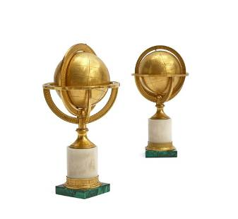 Two French terrestrial globes