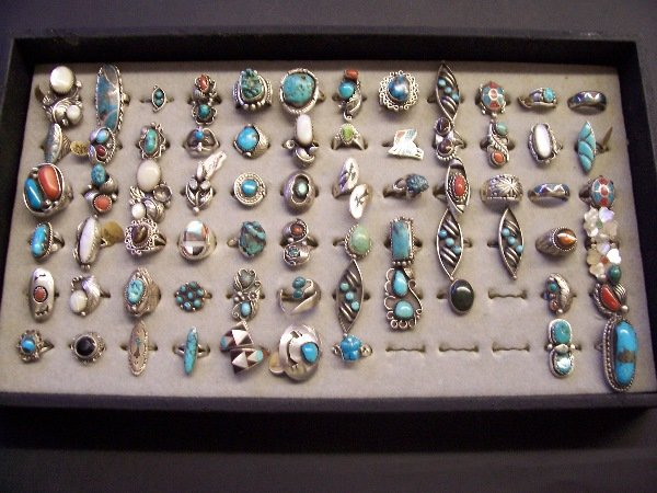 412: assorted native rings. Silver, turqouise q. 69