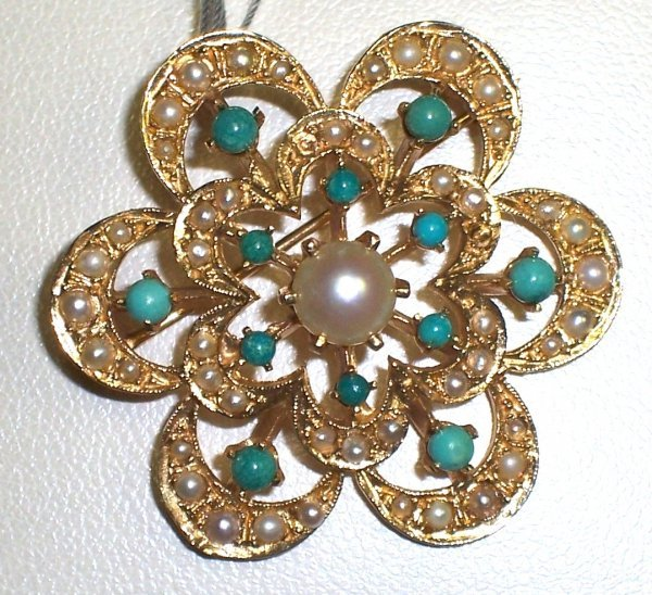 308: 14K PEARL AND TURQUOISE BROOCH PIN
