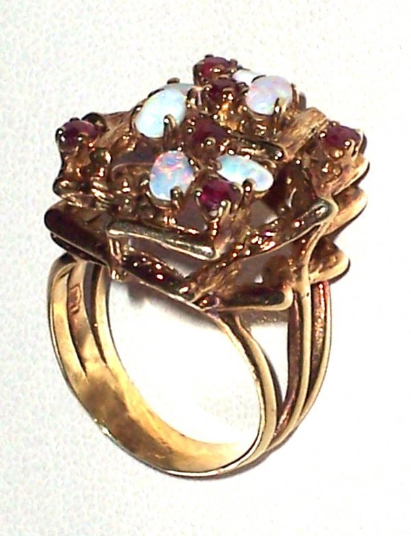 313: 14K OPAL AND RUBY LADY'S RING