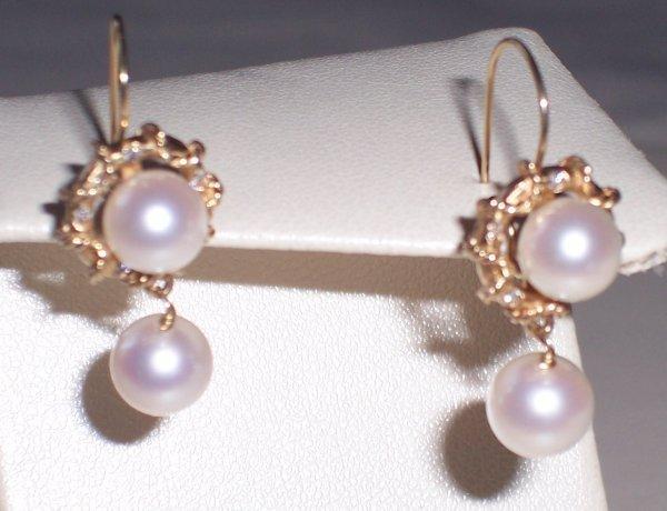315: 14K CULTURED PEARL & DIAMOND DANGLE EARRINGS
