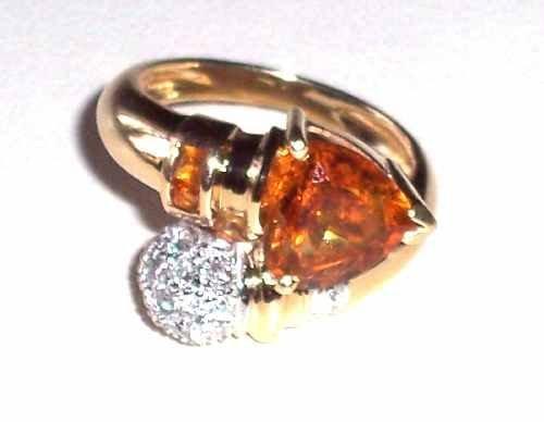 317: 14K CITRINE & PAVE' DIAMOND BYPASS RING