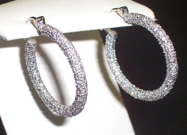 373: 18K PAVE' DIAMOND HOOP EARRINGS APPRAISED $5,000