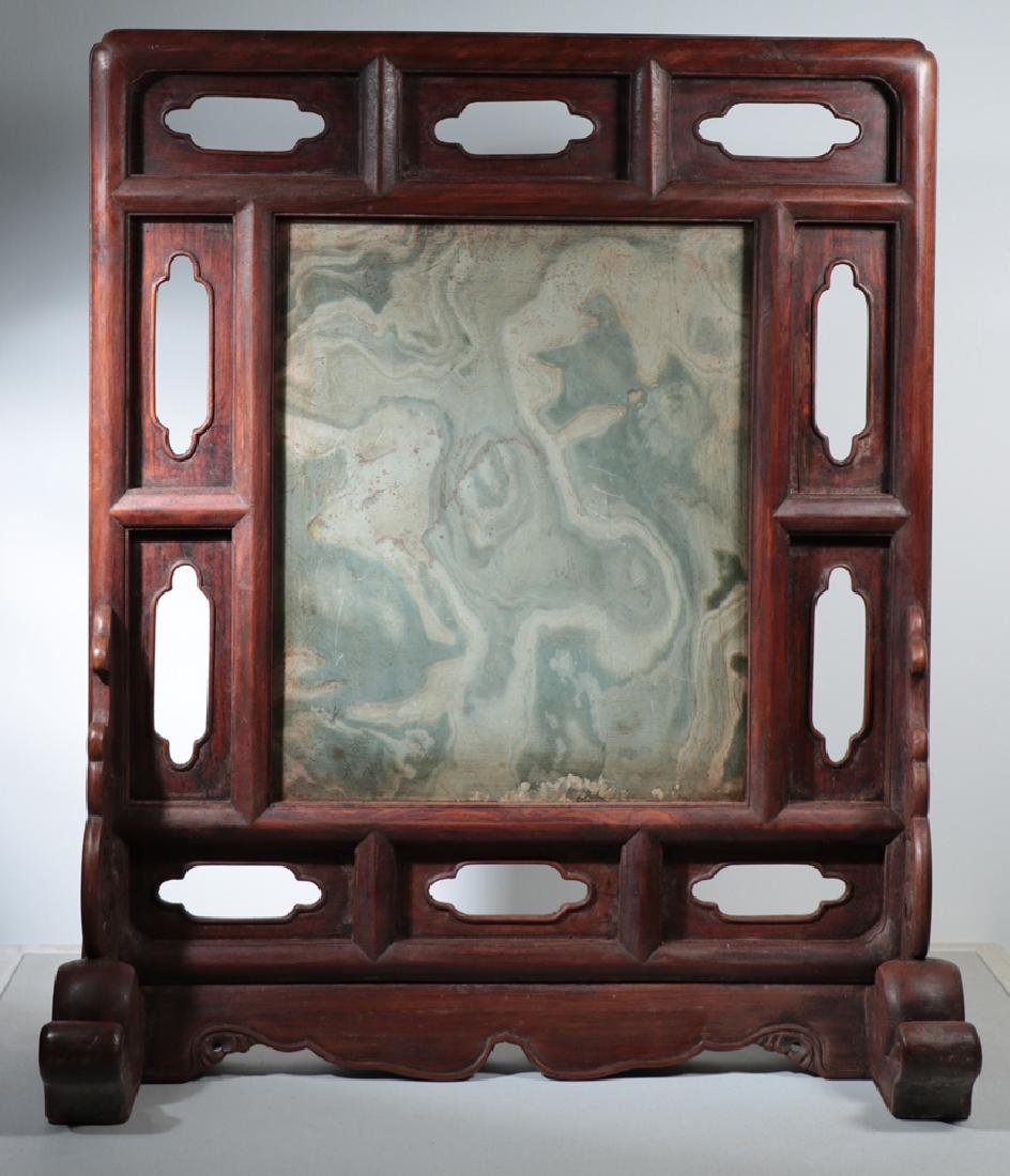 A STONE TABLE SCREEN IN HUANGHUALI FRAME, QING DYNASTY