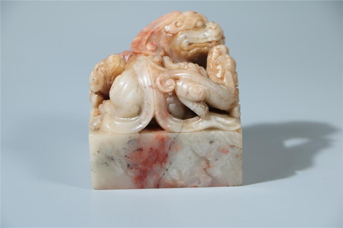 A SOAPSTONE SEAL, QING DYNASTY - 4