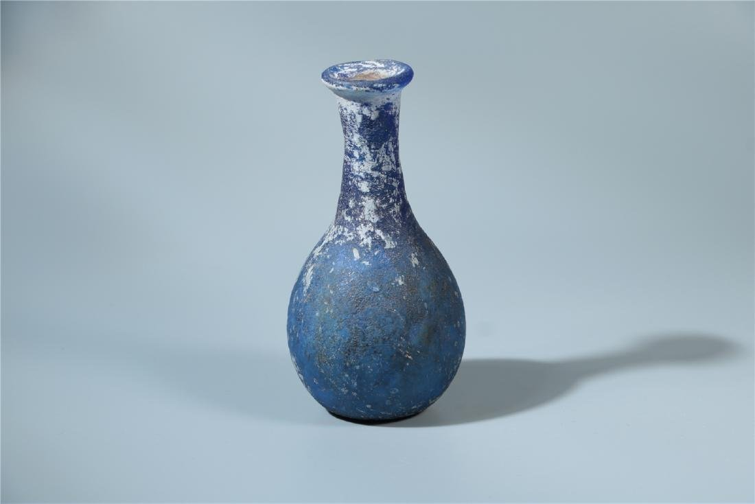 A BLUE PEKING GLASS VASE, PROBABLY HAN DYNASTY - 2