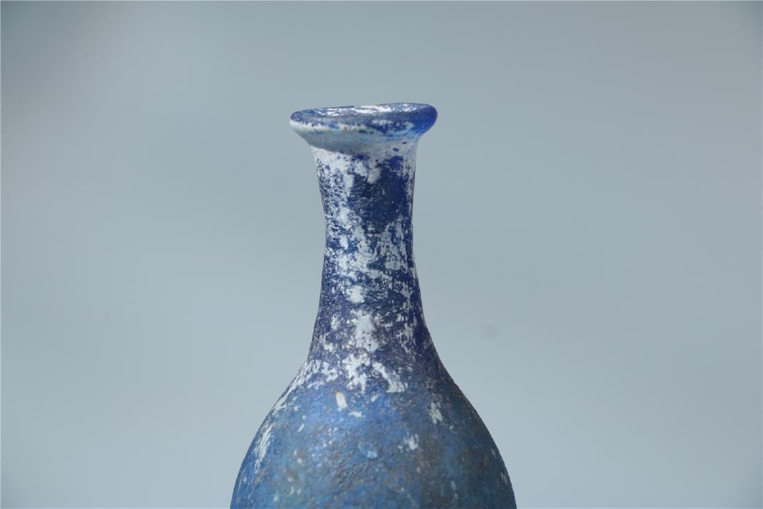 A BLUE PEKING GLASS VASE, PROBABLY HAN DYNASTY - 3