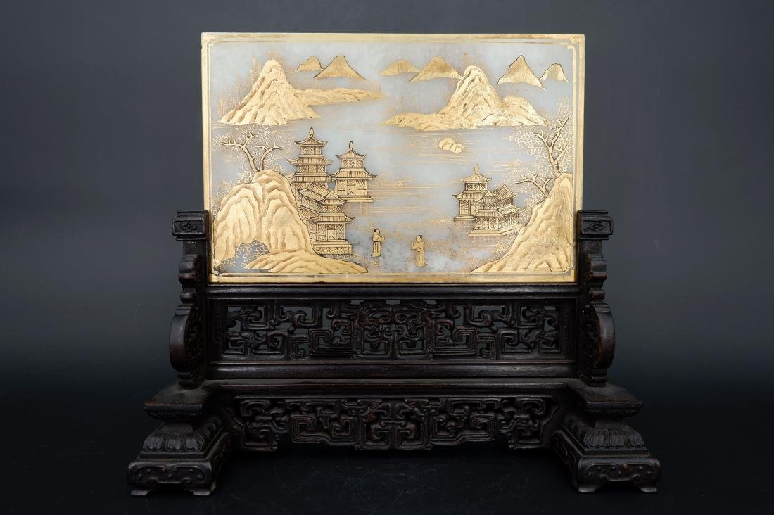 A CHINESE GILT WHITE JADE TABLE SCREEN, QING DYNASTY