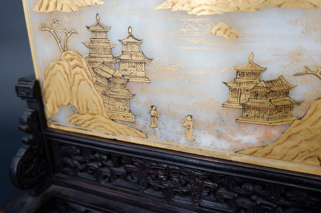 A CHINESE GILT WHITE JADE TABLE SCREEN, QING DYNASTY - 4