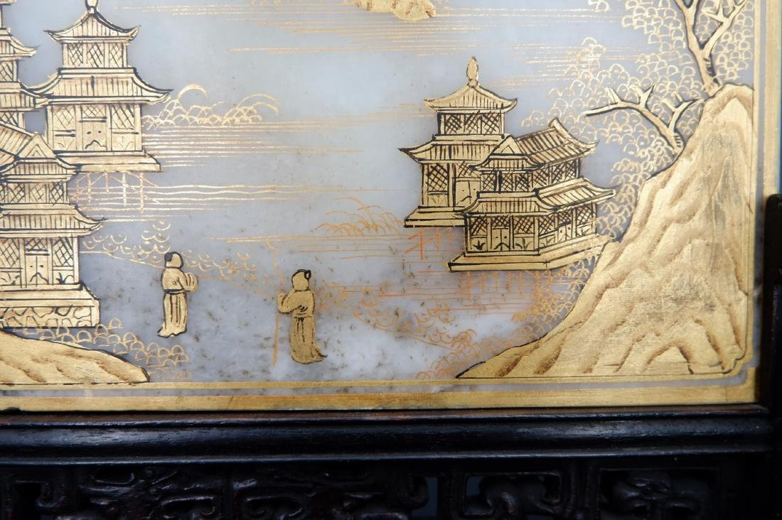 A CHINESE GILT WHITE JADE TABLE SCREEN, QING DYNASTY - 5
