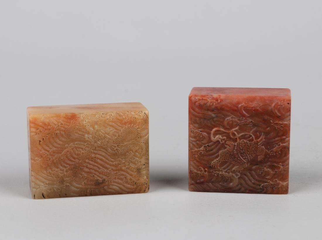 TWO CHINESE SOAPSTONE SEALS