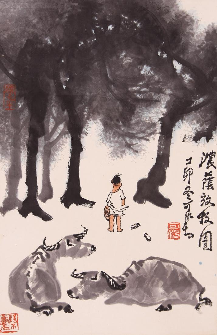 A CHINESE PAINTING, AFTER LI KERAN, INK AND COLOURON
