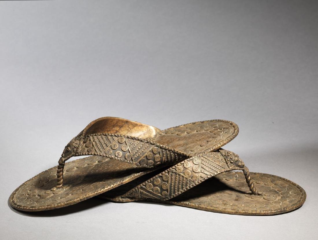 Bronzen Ashanti/Asante Sandal Tribal Art