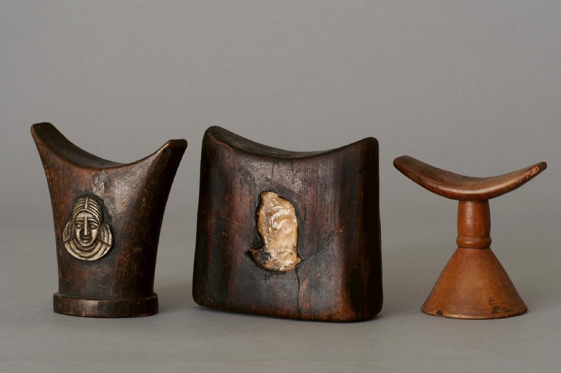 Three Ethiopian Headrests Tribal Art