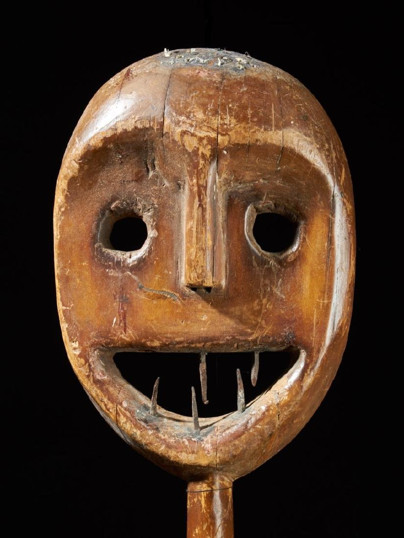 Mysterious Wooden Mask on a Stick Tribal Art - 4