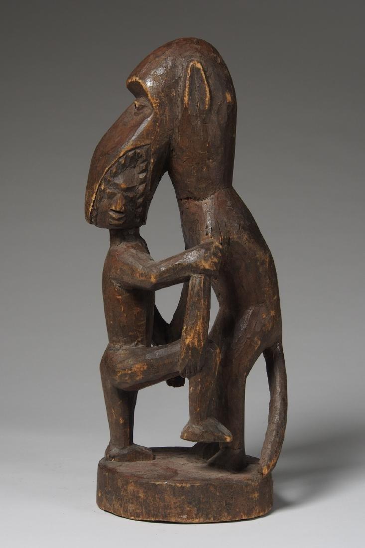 Wooden Figure of Monkey eating a man Tribal Art - 3