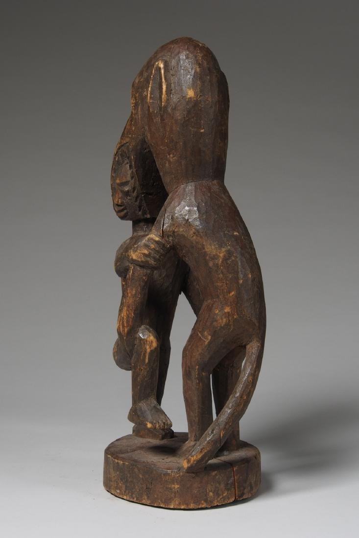 Wooden Figure of Monkey eating a man Tribal Art - 4